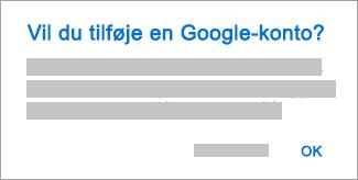 Tryk på OK for at give Outlook adgang til dine konti.