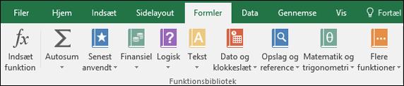"""Fanen """"Excel-formler"""" på båndet"""