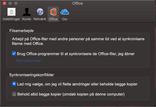 """Fanen Office i Microsoft OneDrive med indstillingen """"Synkroniser kontor"""" valgt"""