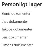Vis liste med linkene til brugeres OneDrives