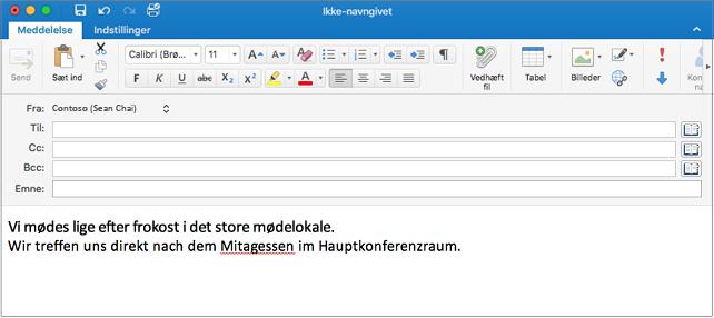 Engelsk sætning og tysk sætning med forkert stavet ord på tysk. Stavefejl er understreget med rødt.