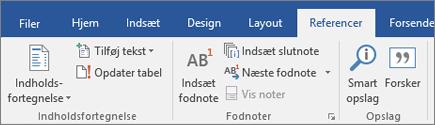 Båndet i Researcher i Office 365 Word