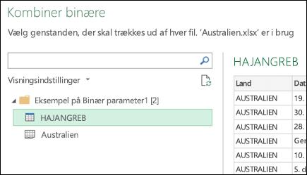 Dialogboksen Kombiner binære viser tilgængelige Excel-regneark til at vælge den primære konsolideringsdestination