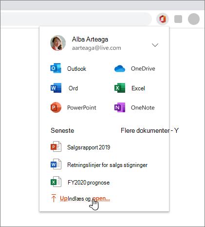 Billede af browseren med Office-udvidelsen åben og logget på