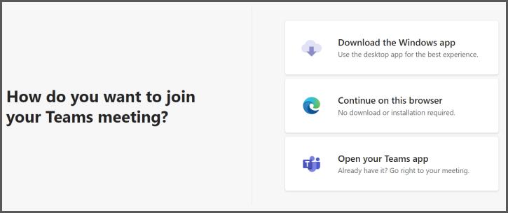 Skærmbillede af de tre indstillinger for deltagelse i et Teams-møde via et link til mødet.