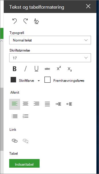 Åbne tekst og tabelformatering side