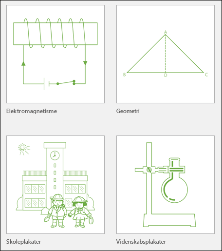 Fire skabelonminiaturer i Visio-undervisning fra Microsoft