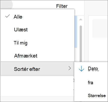 Et skærmbillede viser Sortér efter indstillingen markeret fra kontrolelementet Filter for e-mail-meddelelser.