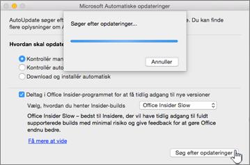 Søger efter Insider Slow-opdateringer på Mac