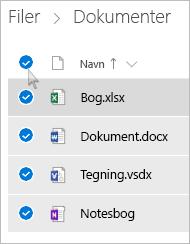 Skærmbillede af valg af alle filer og mapper i OneDrive