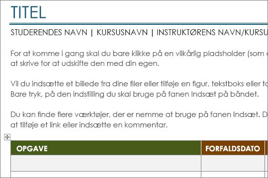 Ny udgave af skabelonen Liste med projektopgaver med en minimumsskrifttype på 11 punkter.