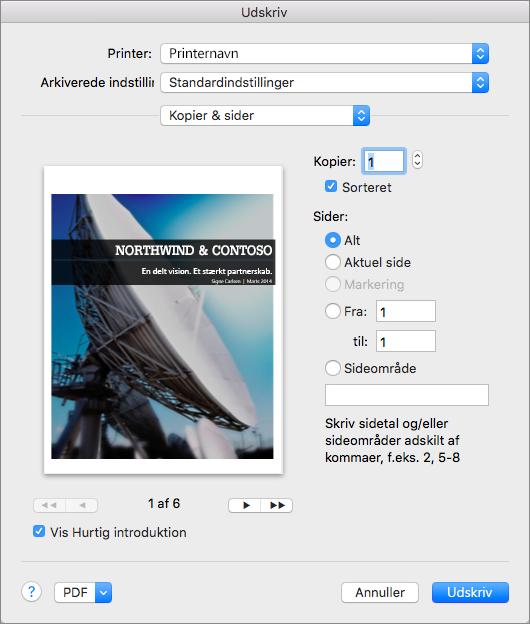 Du kan få vist sider og angive hvilke og hvor mange sider, der skal udskrives, i Kopier og sider under Udskriv.