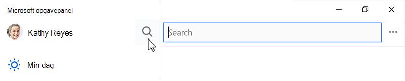 Skærmbillede, der viser søgeikonet valgt og søgefeltet åbne