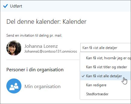 Skærmbillede af Del kalenderrude, der viser adgangsindstillinger