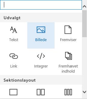 Skærmbillede af valg af webdel til billede i SharePoint.