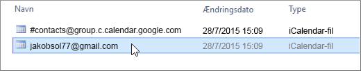 Vælg den fil, der slutter med gmail.com, som skal importeres.