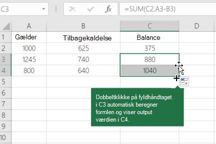 Eksempel på beregning af en løbende saldo