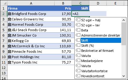 Sammenkædet datatype til aktier