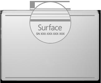 Serienummerets placering på Surface Book