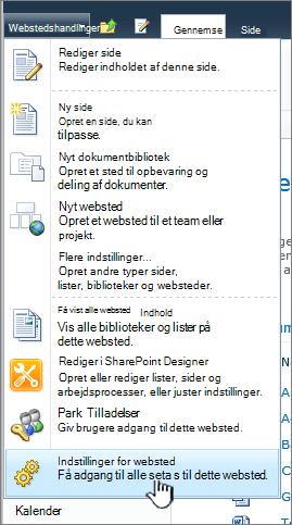 Indstillinger for websted i menuen Webstedshandlinger