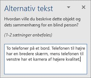 Ruden Alternativ tekst med et eksempel på alternativ tekst i Word til Windows.