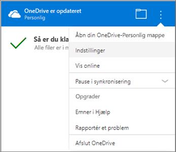 Flere indstillinger i Centret for synkroniseringsaktivitet i OneDrive