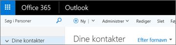 Sådan ser båndet ud, når du har Outlook på internettet.
