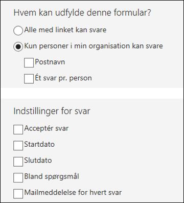 Indstillinger for formularer.