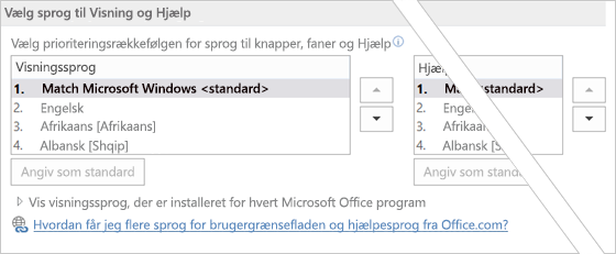 Angive sprogindstilling for Office 2016