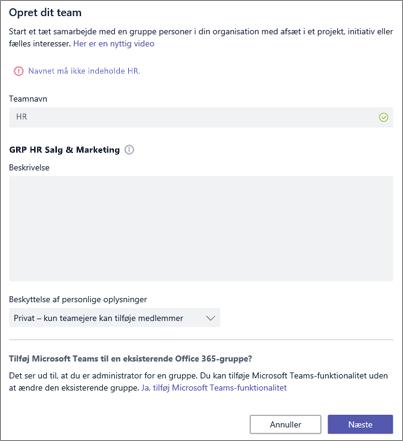 Skærmbillede: Politik for gruppenavngivning i Microsoft Teams blokeret eksempel