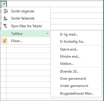 de brugerdefinerede filtreringsindstillinger for talværdier.