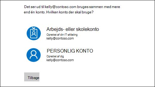 Log på skærmen med to mailadresser