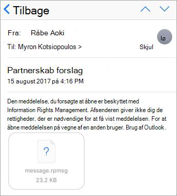 Du kan ikke se beskyttet meddelelser i iOS-mailappen, hvis din administrator ikke har tilladelse til den.