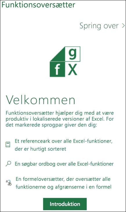Velkomstrude til Funktionsoversætter i Excel