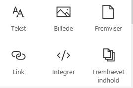 Skærmbillede af menuen Webdel i SharePoint.