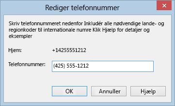 Lync telefonnummer-eksempel, der viser internationalt opkaldsformat