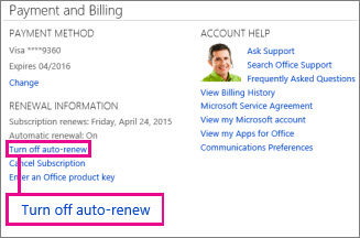 """Screen shot of the Renewal Information section with the """"Turn off auto-renew"""" link selected."""