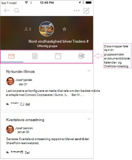 Samtalevisning af en gruppe i grupper i Outlook-mobilappen
