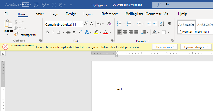 Skærmbillede af overførslen mislykkedes-fejl under redigering af et dokument i Word