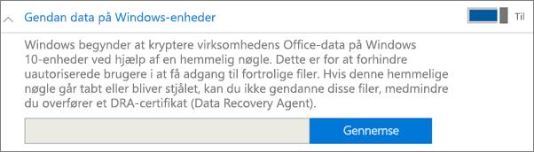Gå til certifikatet Betroet bruger til genoprettelse af data.