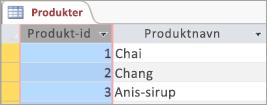 Skærmbillede af tabellen Produkter