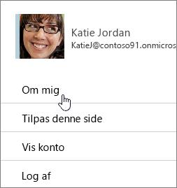 Dialogboksen profil med Om mig fremhævet.
