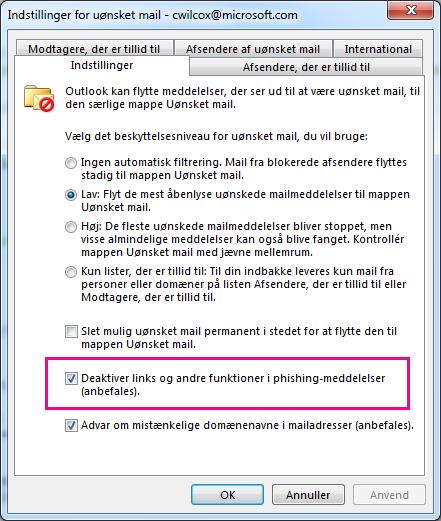 Dialogboksen Indstillinger for uønsket mail i Outlook 2013