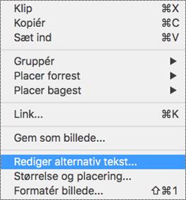 Indstilling for redigering af alternativ tekst i genvejsmenuen i PowerPoint til Mac