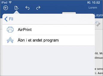 I dialogboksen Udskriv i Word til iOS kan du udskrive dokumentet eller åbne det i en anden app.