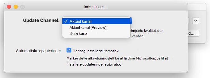 Billede af Microsoft Automatiske opdateringer til Mac -> vinduet Indstillinger, der viser valg for opdateringskanal.