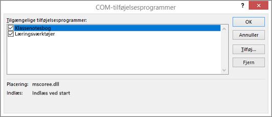 Ruden COM-tilføjelsesprogrammer med Klassenotesbog og afkrydsningsfeltet markeret. Knapperne OK, Annuller, Tilføj og Fjern.