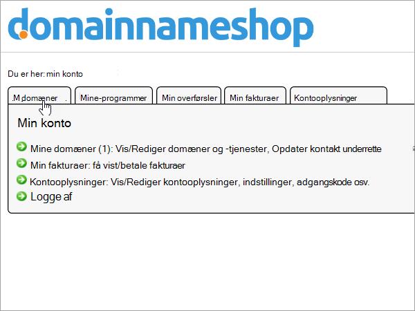 Min domæner i Domainnameshop