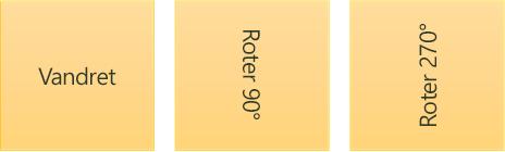 Eksempler på tekstretning: vandret og roteret