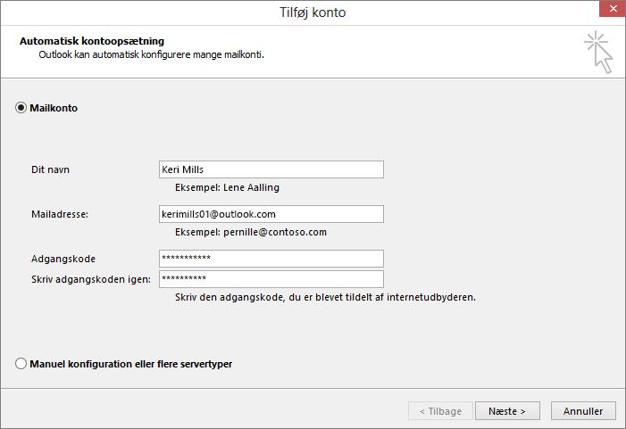 Brug Automatisk kontoopsætning til at tilføje mailkonto som en del af en nyligt oprettet profil i Outlook